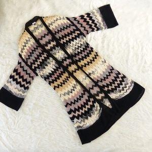 M Missoni Open Knit Black, Purple, Cream Cardigan